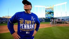 Kansas City Royals manager Ned Yost celebrates their