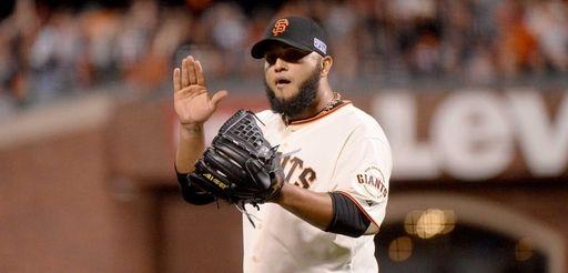 Yusmeiro Petit #52 of the San Francisco Giants