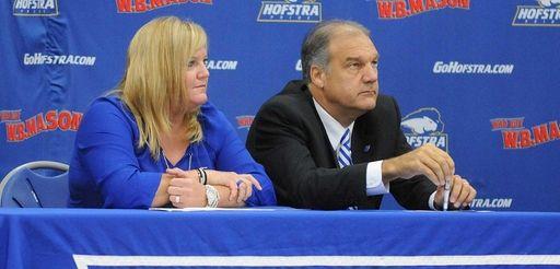 Hofstra women's basketball coach Krista Kilburn-Steveskey and men's