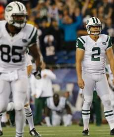 Nick Folk #2 of the Jets reacts after