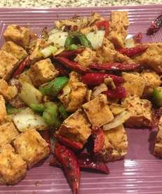 Cumin tofu at Green Tea Restaurant in Stony