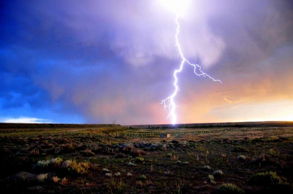 Lightning striking Horsehoe Bend on Seedskadee National Wildlife