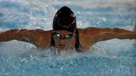 Sarah Kanfer of Patchogue-Medford wins the 100 fly