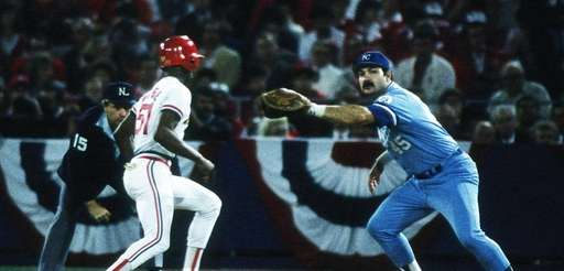 Steve Balboni of the Kansas City Royals catches