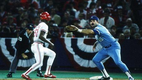 Steve Balboni of the Kansas City Royals catches