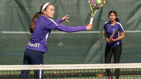 Oyster Bay doubles team, Courtney Kowalsky (left), and