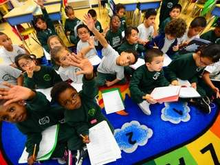 A first grade class is pictured at Evergreen