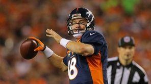 Quarterback Peyton Manning of the Denver Broncos throws