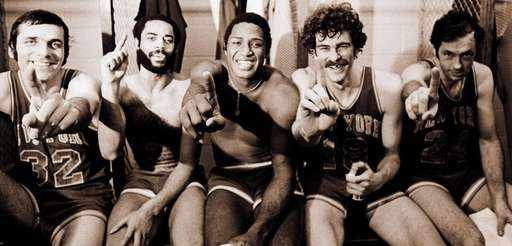 "New York Knicks Jerry Lucas, Walt ""Clyde"" Frazier,"