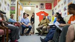 Hempstead School Board President Lamont Johnson met with