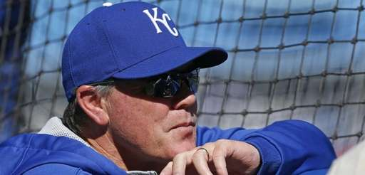 Kansas City Royals manager Ned Yost watches batting
