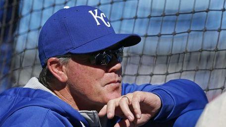 Kansas City Royals manager Ned Yost watches batting