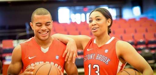 Stony Brook's Carson Puriefoy, left, and Sabre Proctor,
