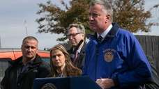 Mayor Bill De Blasio speaks during a news
