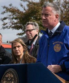 Mayor Bill De Blasio speaks during a news