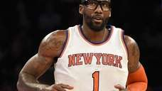 Knicks forward Amar'e Stoudemire reacts after scoring against