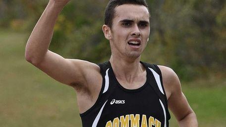 Commack's Joshua Hadity runs to the finish line