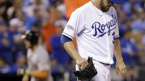 Kansas City Royals pitcher James Shields reacts after