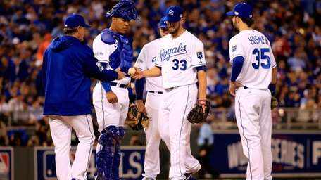 James Shields of the Kansas City Royals gets