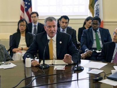 Mayor Bill de Blasio speaks during an interagency