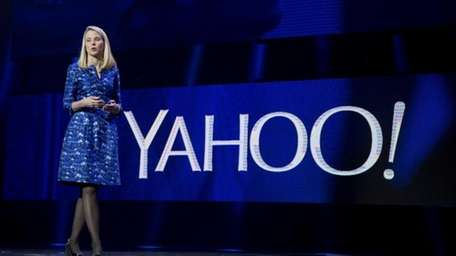 Yahoo president and CEO Marissa Mayer speaks during