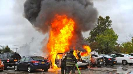 Two cars were destroyed and others damaged after