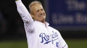 Former Kansas City Royals George Brett throws out