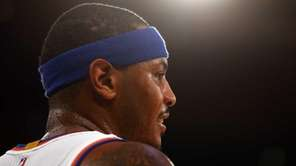 Carmelo Anthony of the Knicks looks on in