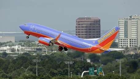 A Southwest Airlines Boeing 737-700 takes off from