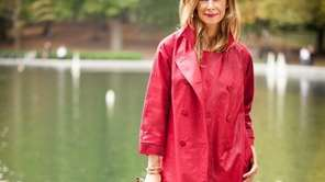Dianne Vavra models Le Trench, the coat she