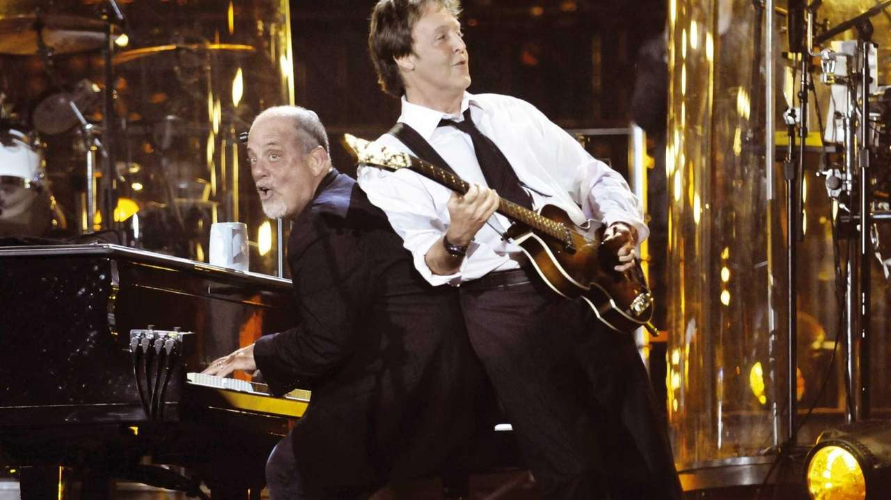 Billy Joel and Paul McCartney perform