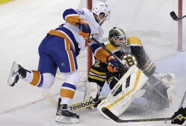 Boston Bruins goalie Niklas Svedberg makes a save
