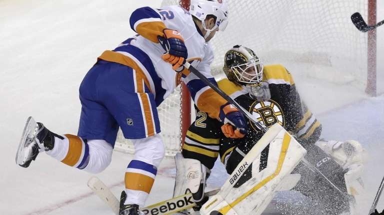Boston Bruins goalie Niklas Svedberg makes a save