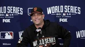 San Francisco Giants pitcher Tim Hudson answers questions