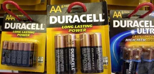 Duracell batteries hang from hooks on display at