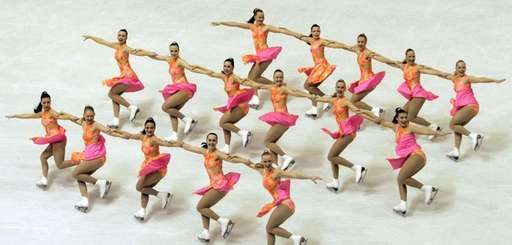 Team Finland 1 performs their short program during