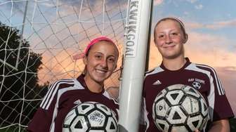 Bay Shore's Alexandra Ehrhart, left, and her twin