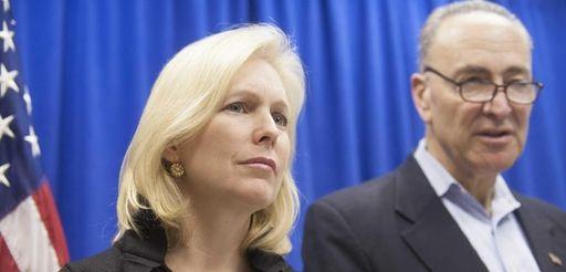 Senators Kirsten Gillibrand and Charles Schumer at a