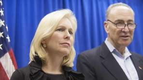 Senators Kirsten Gillibrand and Charles Schumer at a