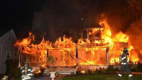 A raging fire destroyed a house on Windsor