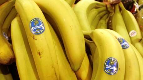 Chiquita bananas are on display at a grocery