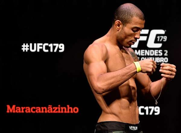 Jose Aldo prepares to weigh in during the