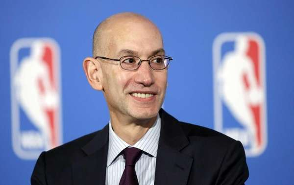 NBA commissioner Adam Silver answers questions at a