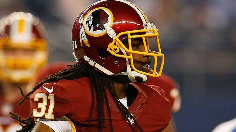 Brandon Meriweather #31 of the Washington Redskins reacts