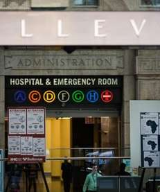 Signs about the Ebola outbreak outside Bellevue Hospital