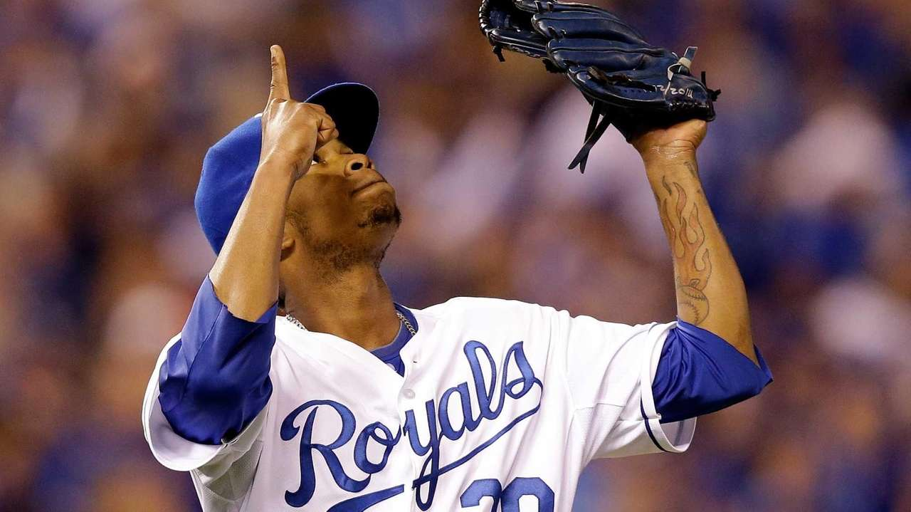 Yordano Ventura of the Kansas City Royals reacts