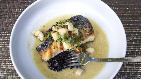 Pan-roasted Long Island blackfish is served in Thai