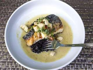 Pan-roasted Long Island blackfish is served in Thai