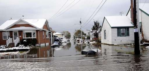 The nor'easter flooded South Bay Street in Lindenhurst.