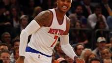 Carmelo Anthony of the Knicks reacts after missing